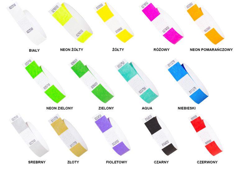 tyvek 19mm z odrywanym kuponem - paleta kolorów